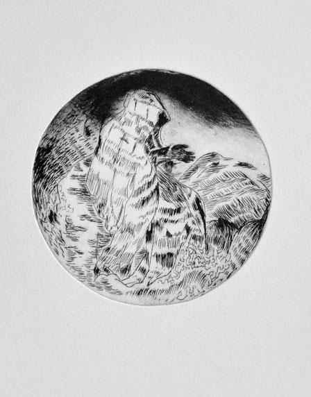 Nix • 2019 • Kaltnadelradierung • Engraving print on paper • 39 x 26,5 cm
