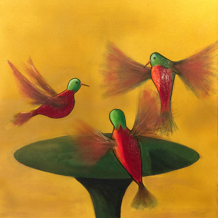 """Hummingbirds Trio"" 60cm x 60cm Mulyi Media on canvas $250 (excluding freight)"