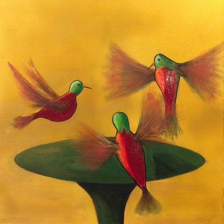 """Hummingbirds Trio"" 60cm x 60cm Multi Media on canvas $100 (excluding freight)"