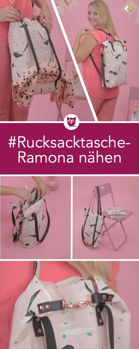 #RucksacktascheRamona aus dem #DIYeuleBuch – Nähanleitung für eine Rucksack Tasche mit Laptop Sleeve und Lederriemen inkl. Videoanleitung von DIY Eule – Tasche / Shopper / Handtasche