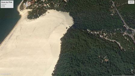 Google Earth - Dune du Pilat mit Parkplatz