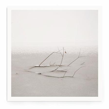 """""""Dance With The Shadow"""" Art Print von Lena Weisbek. Minimalistische Schneelandschaft mit Vogel in schwarz-weiß, getönt."""