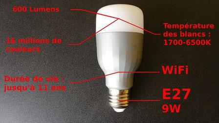 Caractéristiques de l'ampoule Xiaomi YeeLight RGBW