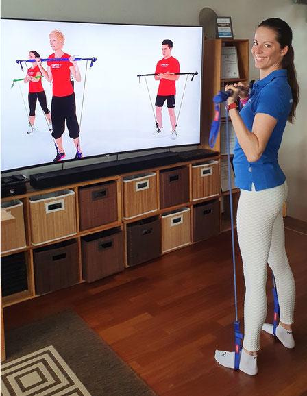 Anita Kaiser bei Ihrem Gymstick-Training