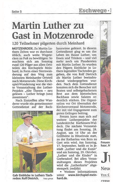 Zeitungsartikel zur Sternwanderung nach Motzenrode