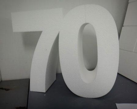 Número 70, enlazado, para Fiesta de Aniversario