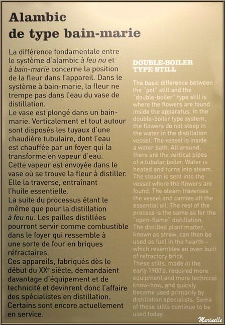 """Le """"Musée de la Lavande"""" à Coustellet (84) : panneau explicatif de l'alambic type bain-marie"""
