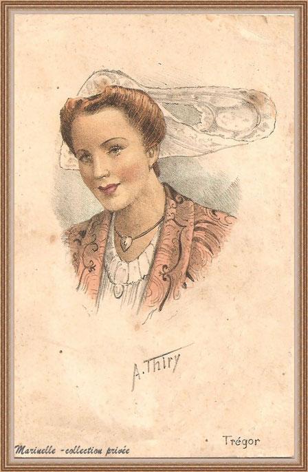 Carte postale ancienne - Portait dessiné : femme et coiffe du Trégor (collection privée)