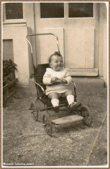 Gujan-Mestras autrefois : En 1932, petite fille dans sa poussette (photo de famille, collection privée)