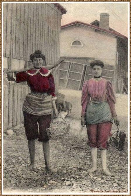 Gujan-Mestras autrefois : Parqueuse, Bassin d'Arcachon (carte postale colorisée, collection privée)