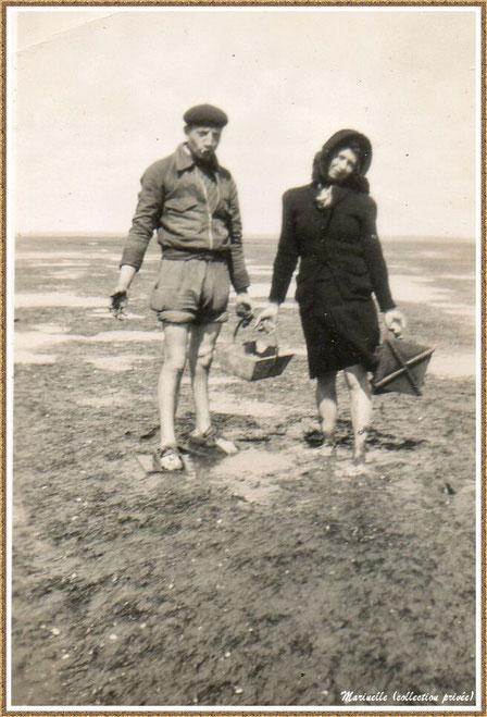 Gujan-Mestras autrefois : Couple de pêcheurs de palourdes, Bassin d'Arcachon (photo de famille, collection privée)