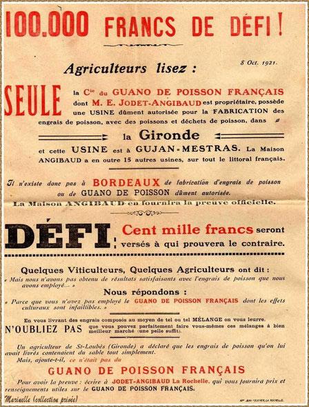Gujan-Mestras autrefois : en 1921, publicité de la Cie Guano de Poisson Français, Usine de Gujan-Mestras, Bassin d'Arcachon (collection privée)