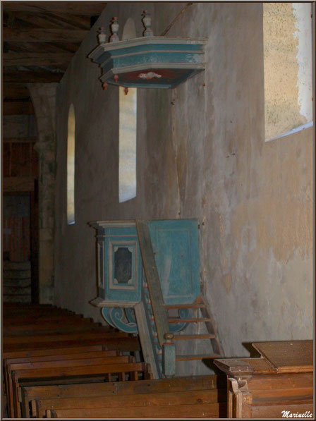 La chaire du XVIIème/XVIIIème siècle à église Saint Pierre de Mons à Belin-Beliet (Gironde)