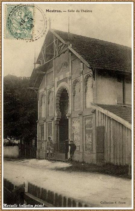 Gujan-Mestras autrefois : en 1906, Rue du Théâtre avec sa salle de spectacles qui deviendra le cinéma St Michel (aujourd'hui bâtisse privée), Bassin d'Arcachon (carte postale, collection privée)