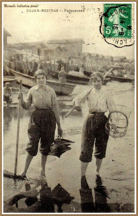 Gujan-Mestras autrefois : Parqueuses en 1916, Bassin d'Arcachon (carte postale, collection privée)