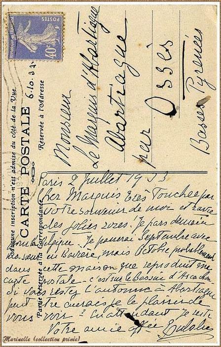 """Gujan-Mestras autrefois : La Hume, en 1933, Villa """"Sans-Souci"""" ancienne propriété de l'Infante Eugénie, Bassin d'Arcachon (carte postale - côté VERSO, collection privée)"""