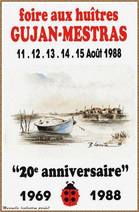 Gujan-Mestras autrefois : Affiche pour le 20ème anniversaire de la Foire aux Huitres, Bassin d'Arcachon (collection privée)
