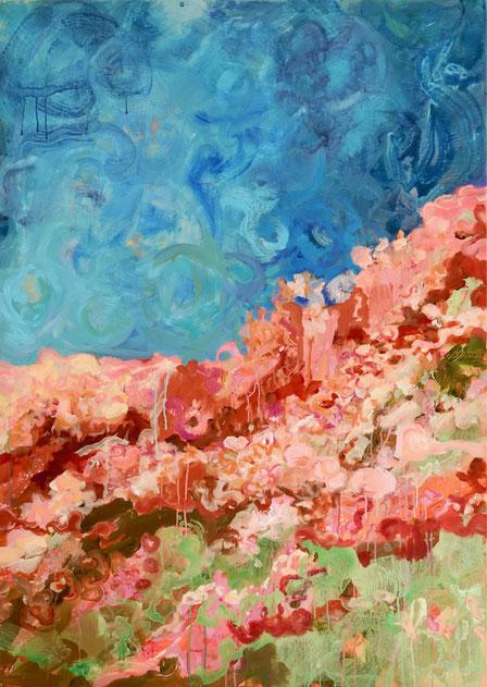 Falaise fleurie, 2017 Acryl auf Leinwand 100x140