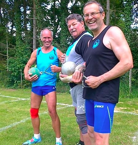 Das M-60-Team, das beim Strongest Man-Heavy und Strongest Man-Light jeweils siegreich blieb!                                  V. l. n. r. Reinhard Rhaue - Norbert Gundermann - Dr. Klaus Lutter!