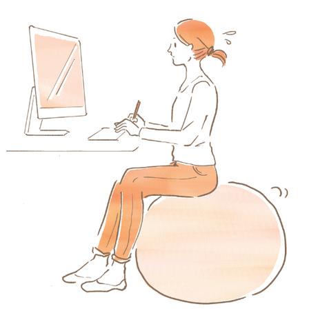 ストレッチボールに座る女性のイラスト