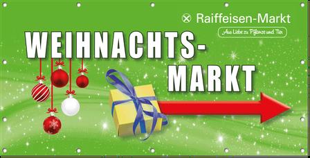 Mesh-Gewebe-Plane für Weihnachtsmarkt des Raiffeisen-Marktes.