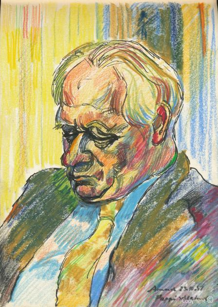 Amud Uwe Millies (1932-2008): Pappi (Hanns Heinen) schlafend, 1957