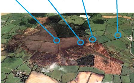 Girley Bog in Ierland. Zoals veel hoogvenen in Noordwest Europa is het landschap aangetast door ontwatering, turfwinning en bosbouw, maar de verschillende onderdelen van het landschap zijn goed te herkennen.