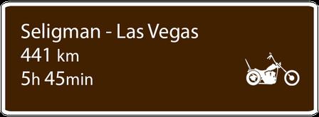 Motoglobe Motorradreisen Hinweistafel zur Route von Seligman, Arizona, nach Las Vegas, Nevada, USA