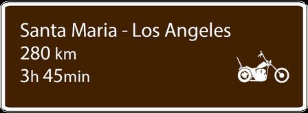 Motoglobe Motorradreisen Hinweistafel zur Route von Santa Maria nach Los Angeles, Kalifornien, USA
