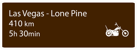 Motoglobe Motorradreisen Hinweistafel zur Route von Las Vegas, Nevada, nach Lone Pine, Kalifornien, USA