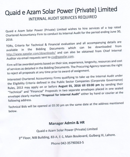 Tender Notice for Hiring of Internal Audit Services valid from 15th July 2016- 1st August 2016