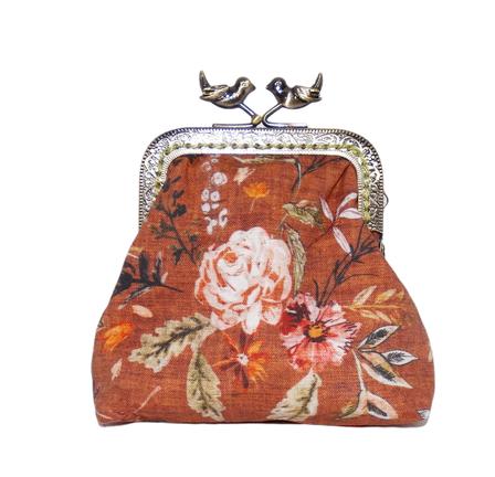 bourse vintage porte-monnaie rétro bijoux pochette maquillage tissu rouille fleurs fleuri floral fermoir métallique bronze oiseaux