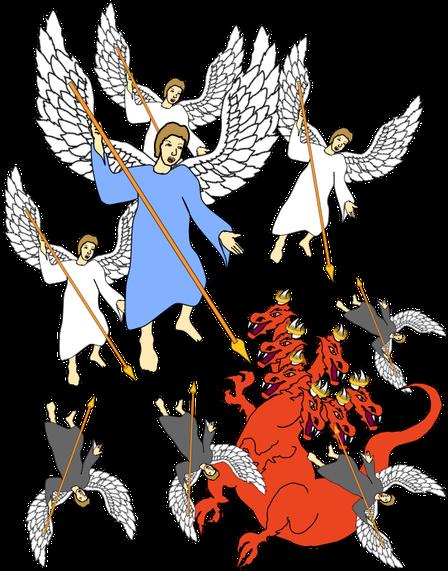 La guerre décrite en Apocalypse 12 aura lieu dans les cieux. Jésus et ses anges combattront Satan et ses anges ou démons. Satan et ses anges seront chassés des cieux, le nouveau gouvernement céleste, le Royaume de Dieu va entrer en fonction.