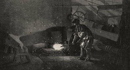 Manufacture of gun barrels at Birmingham using a steam hammer  1851