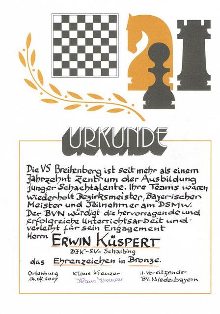 2007, Verleihung der Ehrennadel an Erwin Küspert