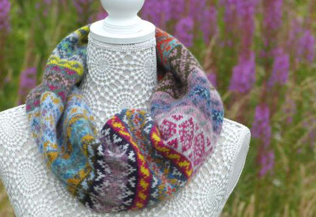 'Pic'n'Mix' knitted cowl in soft heather colours. Grey, blue, pink, green, yellow, cream, teal.