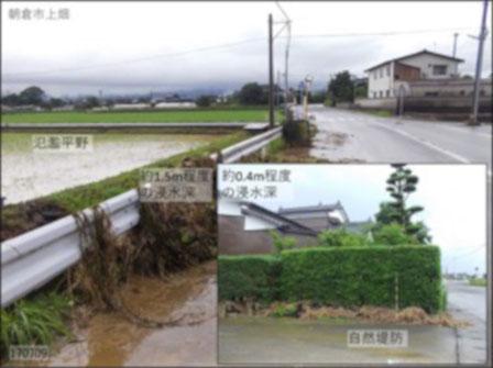 写真2 微地形と氾濫被害の差