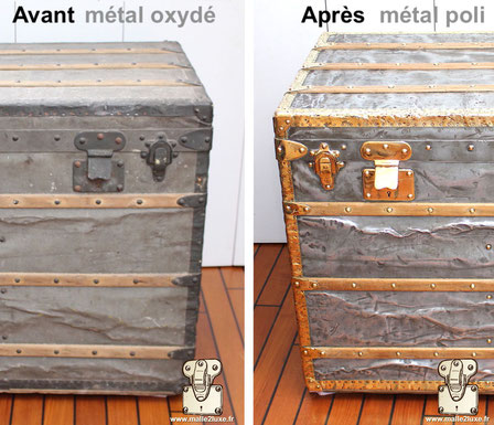 Cleaning of brass and zinc on a Louis Vuitton 1889 trunk