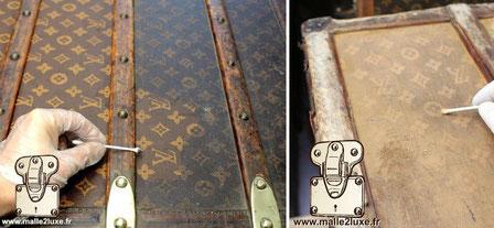 restauration d'une toile LV au pochoir Louis vuitton mark 1