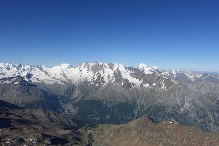 Lagginhorn Südgrat, Gipfel, Mischabel, Dom, Lenzspitze, Nadelhorn, Alphubel