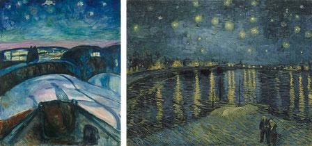 Links: Edvard Munch. Sternennacht, 1922-1924. © Munch Museum. Rechts: Vincent van Gogh. Sternennacht über der Rhône, 1888. © Musée d'Orsay, Paris.