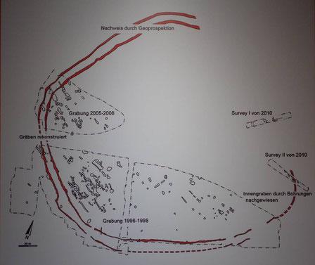 Gewerbegebiet Herxheim Grabungsflächen mit den beiden Gräben