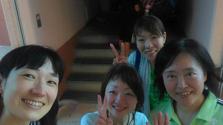 左から私、五所川原に目のトレーニングを広めてる新岡さん、千葉敦子コーチ、後ろの方は…ごめんなさい!お名前が分かりません(汗)!
