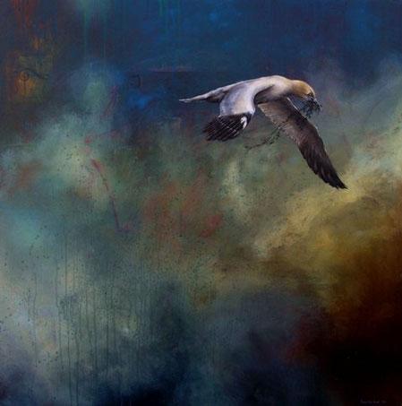 Vogelbildnis     1,20 x 1,20 m     Acryl auf Leinwand  /  acrylic on canvas