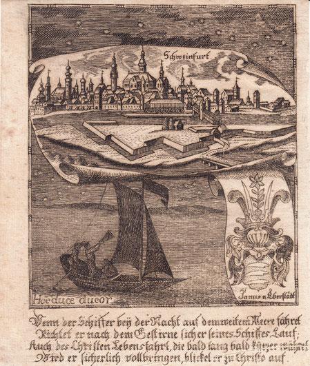 """Kupferstich aus Zittauisches Tagebuch, um 1798, 17 x 13 (H)  Sehr seltene Ansicht. - Das Blatt besitzt in der oberen Hälfte eine Gesamtansicht von Schweinfurt, darunter eine Allegorie zum Thema """"Segeln"""" und ein Wappen derer von Eberstadt. Ganz unten ein 4"""