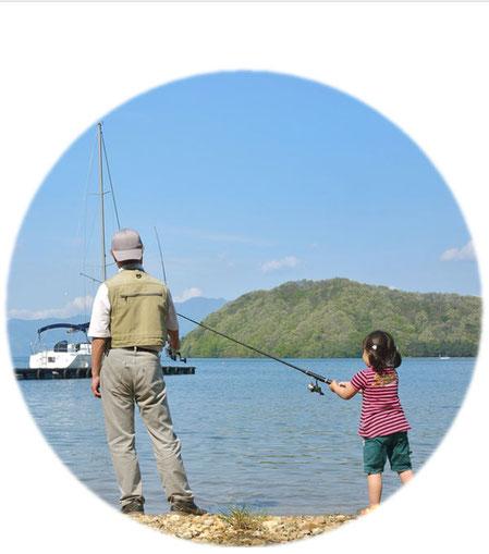 釣りをする親子や釣りをする孫が堤防釣りをしている様子