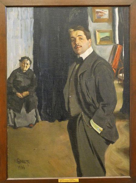 Léon Bakst (1866-1924) : portrait de Sergei Diaghilev avec sa Nanny