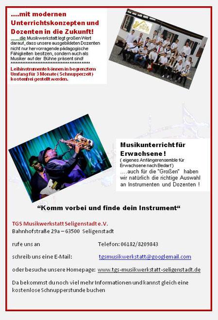 Musikunterricht für Kinder, Jugendliche und Erwachsene an der TGS Musikwerkstatt Seligenstadt e. V.