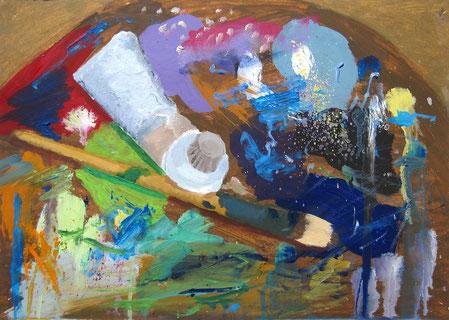April 2015 Sebastian »Palette« Ölfarbe auf Papier 30 x 42 cm