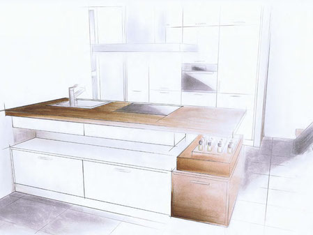 Skizze Küchenblock